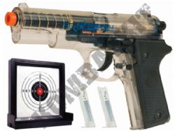 Colt Double Eagle Official Spring Airsoft BB Gun + Target Set 2 Tone Clear & Black